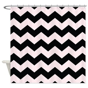 Black And Pink Striped Shower Curtains