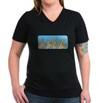 Love & Peace hands Women's V-Neck Dark T-Shirt