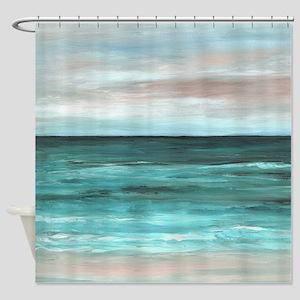 Sea View 265 aqua Shower Curtain