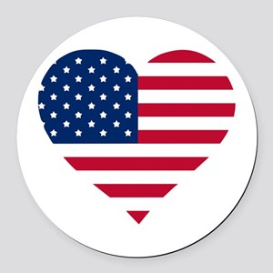 God Bless The Usa Heart Shaped Round Car Magnet