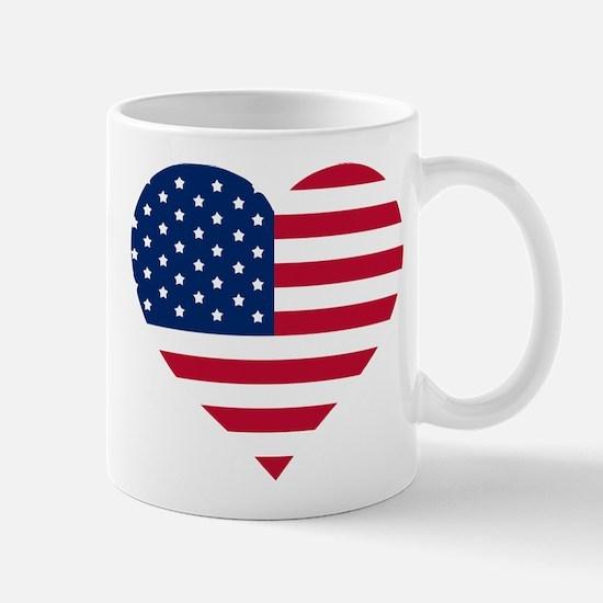 GOD BLESS THE USA HEART SHAPED AMERICAN FLAG Mugs