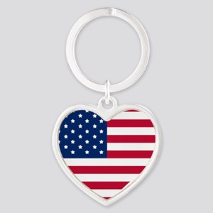 GOD BLESS THE USA HEART SHAPED AMERICAN FLAG Keych