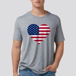 GOD BLESS THE USA HEART SHAPED AMERICAN FLAG T-Shi