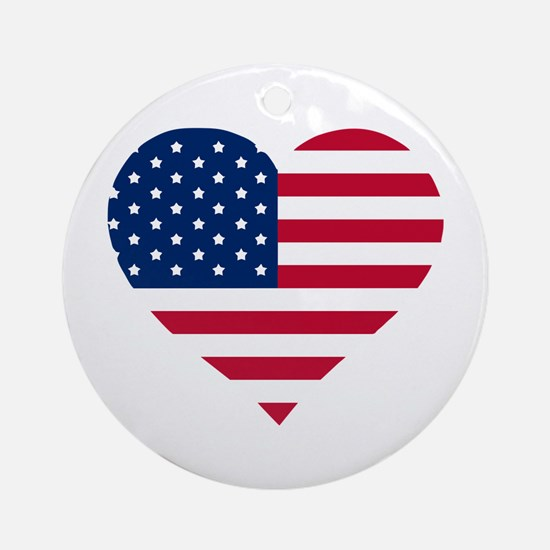 God Bless The Usa Heart Shaped Round Ornament