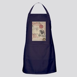 Vintage French Handwriting Paris Rooster Apron (da