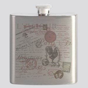 Vintage French Handwriting Paris Rooster Flask