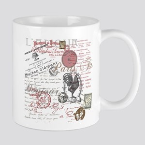 Vintage French Handwriting Paris Rooster Mugs