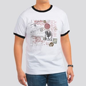Vintage French Handwriting Paris Rooster T-Shirt
