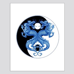 Yin Yang Dragons Blue Small Poster