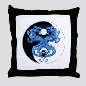 Yin Yang Dragons Blue Throw Pillow