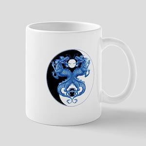 Yin Yang Dragons Blue Mug