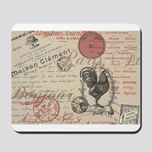 Vintage French Handwriting Paris Rooster Mousepad