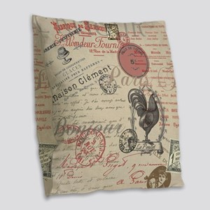 Vintage French Handwriting Paris Rooster Burlap Th