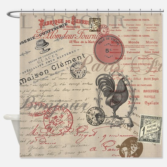 Vintage French Handwriting Paris Rooster Shower Cu