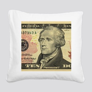 $10 Alexander Hamilton Portra Square Canvas Pillow
