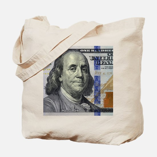 $100 Benjamin Franklin Portrait Tote Bag