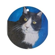 Tuxedo Cat Art Ornament (Round)