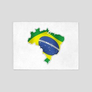 Brazilian Flag 5'x7'Area Rug