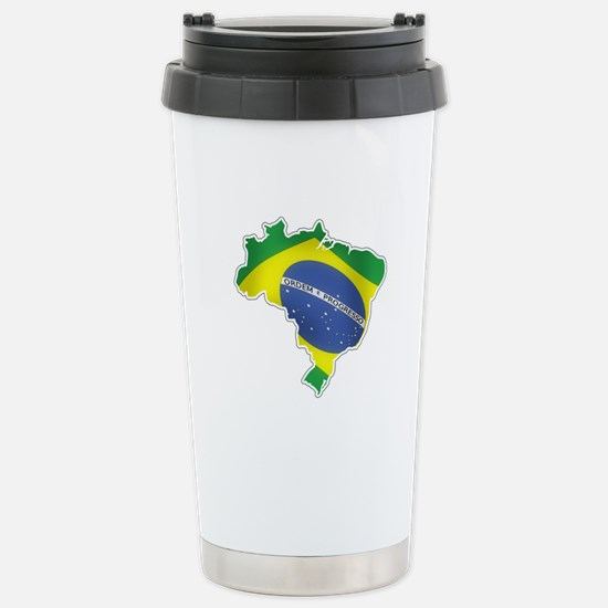 Brazilian Flag Stainless Steel Travel Mug