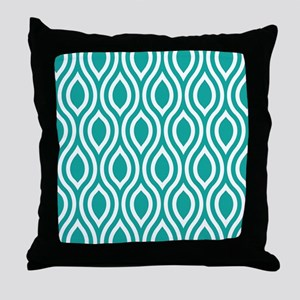 Ogee Teal Retro Throw Pillow