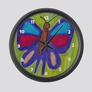 Oil Pastel Butterfly Large Wall Clock