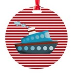 Nautical Cruise Ship on Red White Ornament