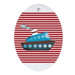 Nautical Cruise Ship on Red White Ornament (Oval)