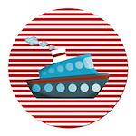 Nautical Cruise Ship on Red White Round Car Magnet