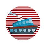 Nautical Cruise Ship on Red White 3.5
