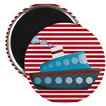 Nautical Cruise Ship on Red White Magnets