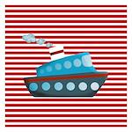 Nautical Cruise Ship on Red White Invitations