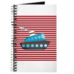 Nautical Cruise Ship on Red White Journal