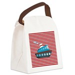 Nautical Cruise Ship on Red White Canvas Lunch Bag