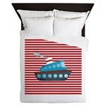 Nautical Cruise Ship on Red White Queen Duvet