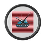 Nautical Cruise Ship on Red White Large Wall Clock