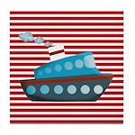 Nautical Cruise Ship on Red White Tile Coaster