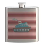 Nautical Cruise Ship on Red White Flask