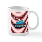 Nautical Cruise Ship on Red White Mugs