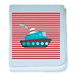 Nautical Cruise Ship on Red White baby blanket