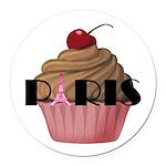 Paris Cupcake Round Car Magnet
