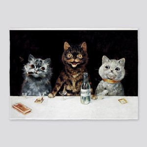 Bachelor Party Cats; Vintage Poster 5'x7'Area Rug