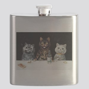 Bachelor Party Cats; Vintage Poster Flask