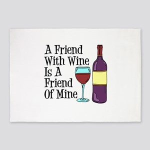 Friend With Wine Friend Of Mine 5'x7'area Rug
