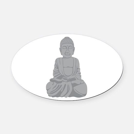 Buddha Statue Oval Car Magnet