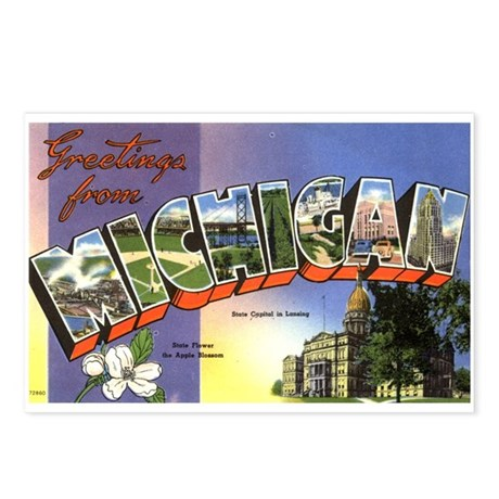 Greetings from Michigan Postcards (Package of 8)