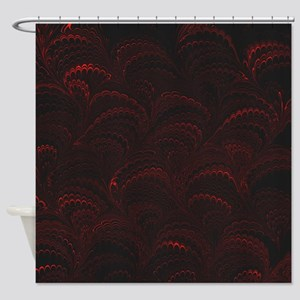 Black and Red Wave Shower Curtain