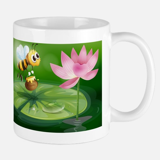A bee with a pot of honey above a water Mug