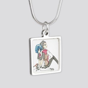 Anime Couple Silver Square Necklace