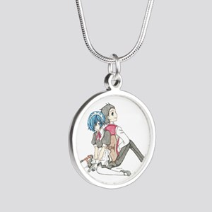Anime Couple Silver Round Necklace