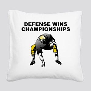 Defense Wins Championships Square Canvas Pillow